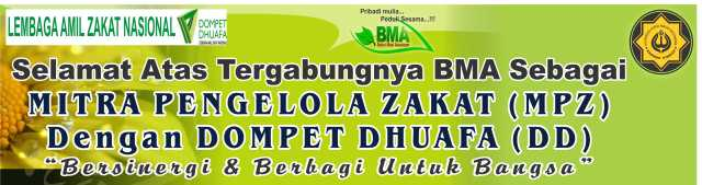 SELAMAT ATAS TERGABUNGNYA BAITUL MAAL ASSALAM (BMA) sebagai Mitra Pengelola Zakat (MPZ) dengan Lembaga Amil Zakat Nasional (LAZNAS) Dompet Dhuafa Jakarta , sejak Penandatanganan MOU pada hari Sabtu, ... tgl 28 Januari 2012 ... di Hall Kanindo Syariah Jatim, oleh Bp. Drs.Untung Endro Cahyono,MM (Pimpinan Kanindo Syariah Jatim) & Bp. Prima Hadi Putra (Direktur DD)
